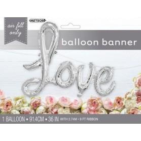 "Love Script 36"" Foil Balloon - Silver"