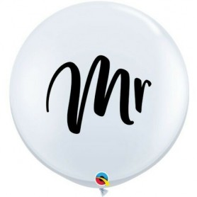 3ft Round White Latex Balloon (Mr) - Pack of 2