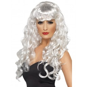 Long Curly White Siren Wig