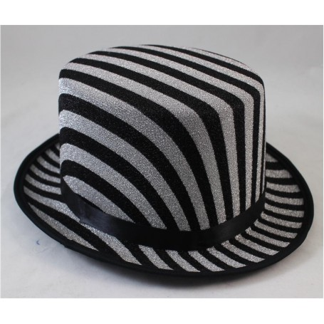 Black and Silver Striped Top Hat