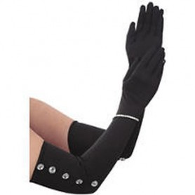 Long Satin Black Gloves with Diamante's