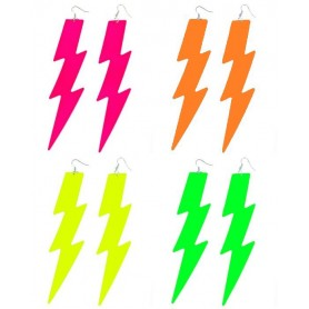 Neon Lightning Bolt Earrings - Assorted