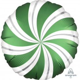 Satin Infused Candy Swirl Foil Balloon - Emerald Green 45cm