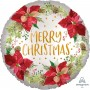 Satin Infused Poinsettia Merry Christmas Foil Balloon - 45cm