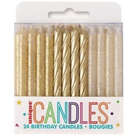 Candles Birthday Glitter Gold - 24 Pack
