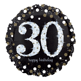 30th Holographic Sparkling Birthday - Foil Balloon 18""