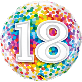 "18 Rainbow Confetti - Foil Balloon 18"""