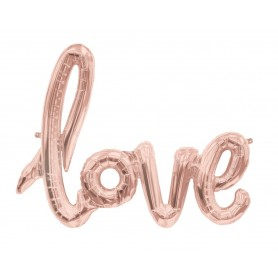 Love Script Foil Balloon - Rose Gold (Air Fill)