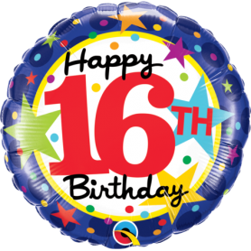 16th Birthday Stars - Foil Balloon 18""