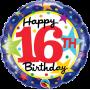 "16th Birthday Stars - Foil Balloon 18"""