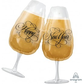 New Years Toasting Glasses - Foil Balloon 69 x 76cm