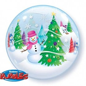Winter Snowmen - Bubble Balloon 22""