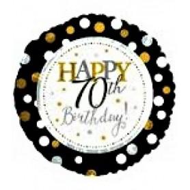 "Happy 70th Birthday with Dots - Foil Balloon 18"" 45cm"