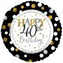 """Happy 40th Birthday with Dots - Foil Balloon 18"""" 45cm"""