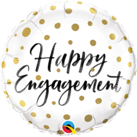"Happy Engagement Gold Dots - Foil Balloon 18"" 46cm"