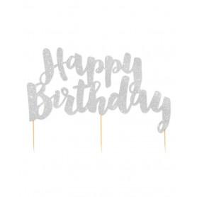 Happy Birthday Silver Glitter Cake Topper - Illume Partyware