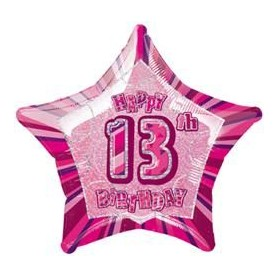 "Glitz 13th Birthday Star - Foil Balloon 20"" PINK"
