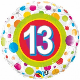 13th Birthday with Colourful Dots - Foil Balloon 18""