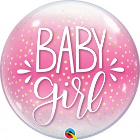 Baby Girl Pink & Confetti Dots - Bubble 56cm 22""