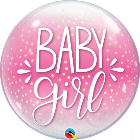 "Baby Girl Pink & Confetti Dots - Bubble 56cm 22"""