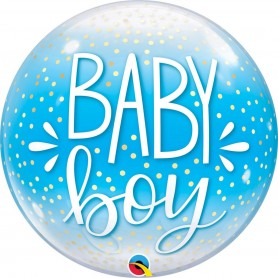 Baby Boy Blue & Confetti Dots - Bubble 56cm 22""