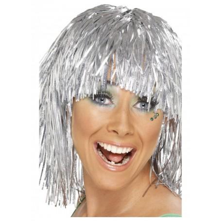Silver Cyber Tinsel Wig