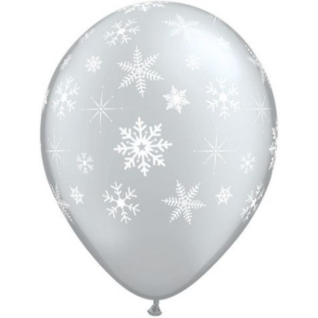 "Qualatex Printed Latex 16"" Snowflakes (Metallic Silver)"