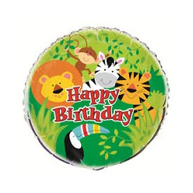 "Happy Birthday 18"" Foil Balloon - Animal Jungle"
