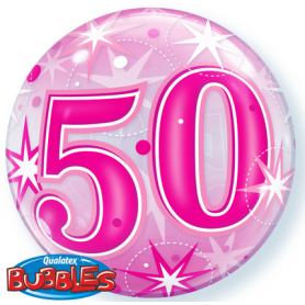 50 Pink Starburst Sparkle - Bubble Balloon 56cm
