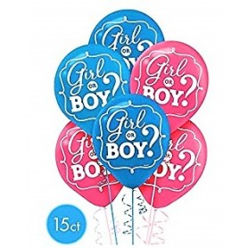 "Gender Reveal Girl or Boy 12"" Latex Balloons - 15 Pack"