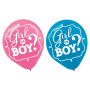 "Gender Reveal Girl or Boy 12"" Latex Balloons - 15 Pack"