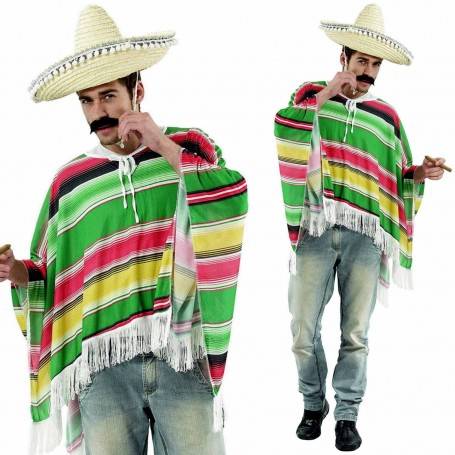 Mexican Poncho - Green/Red/Yell - Adult