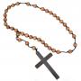 Monks Cross on Wooden Rosary Beads