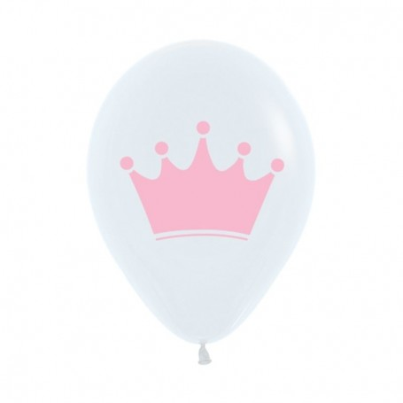 "Sempertex Pink Crown Print on White 12"" Latex Balloon"