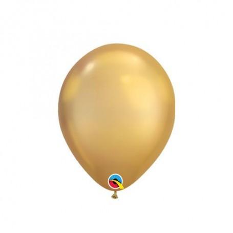 "Qualatex 7"" Round Latex Balloon - Chrome Gold"