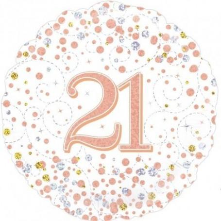"21st Sparkling Rose Gold Fizz Foil Balloon -18"""