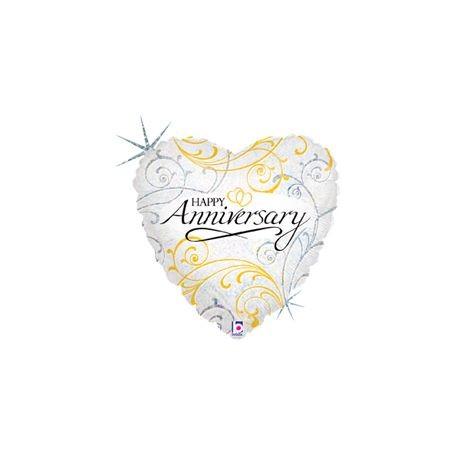 "Filigree Anniversary Heart - Foil Balloon 18"""