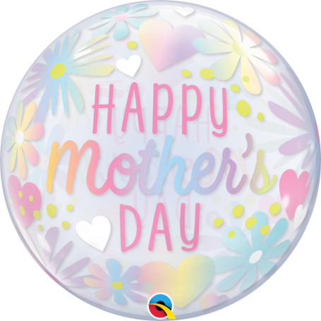 """Mother's Day Floral Pastel Bubble Balloon 22"""""""