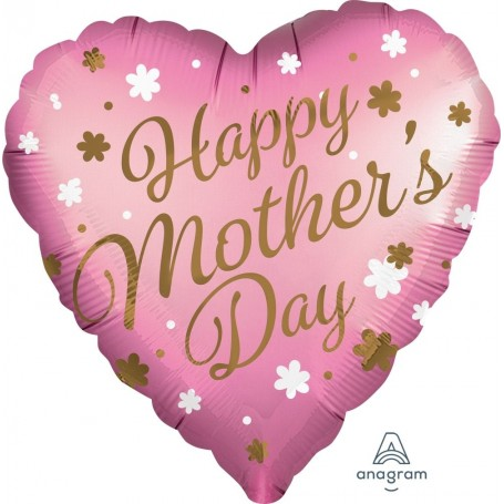 """Happy Mother's Day Satin Infused Heart - 18"""" Pink"""