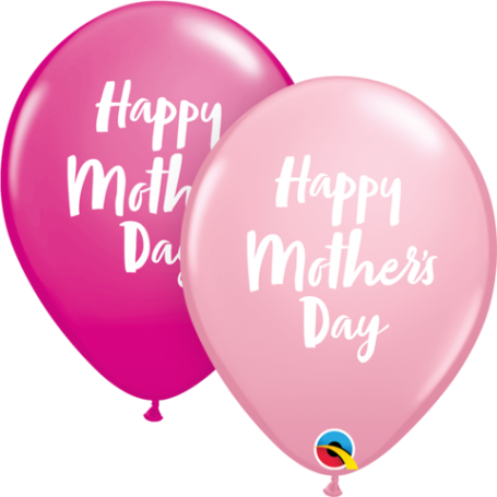 """Mother's Day Script - 11"""" Pink & Wild Berry Latex Balloon"""