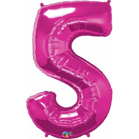 """Qualatex Foil 86cm 34"""" Magenta Pink - Number 5"""