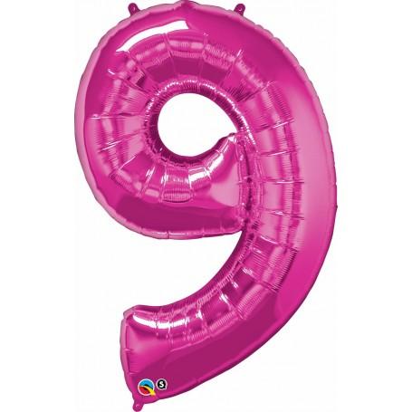 """Qualatex Foil 86cm 34"""" Magenta Pink - Number 9"""