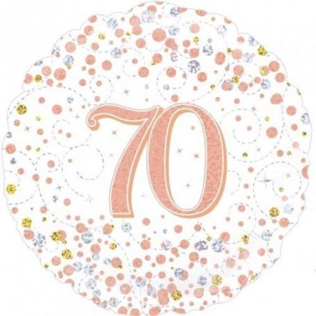 "70th Sparkling Rose Gold Fizz Foil Balloon -18"""