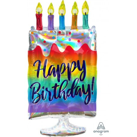 Holographic Iridescent Cake - 38cm x 76cm Foil Balloon
