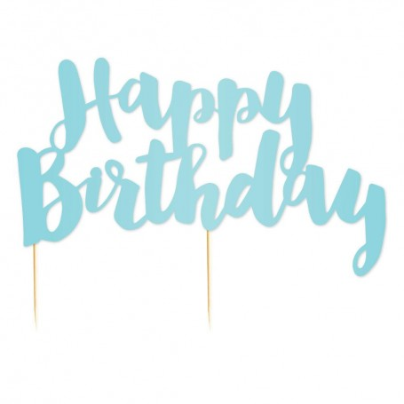 Happy Birthday Blue Cake Topper - by Illume