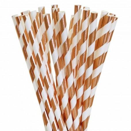 Rose Gold Foil Striped Paper Straws - Pack 25