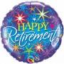 "Qualatex Happy Retirement Colourful Bursts Foil  Balloon 18"""