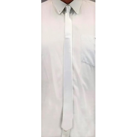 White Skinny Satin Neck Tie