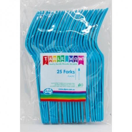 Azure Blue Plastic Forks - 25 Pack