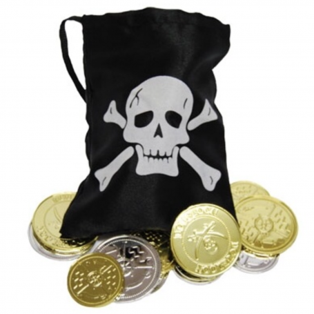 Pirate Gold Coins & Treasure Pouch - 12 Coins
